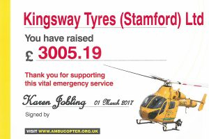 kingsway tyres supporting local ambucopter services