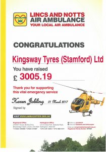 kingsway tyres raising vital funds for lincs and notts air ambulance in 2017