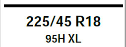 Example of tyre size markings